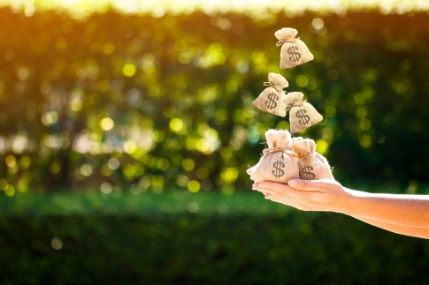 women-hands-hold-a-money-bags-and-dropping-on-the-top-in-the-public-park-for-loans-to-planned-invest-676071160